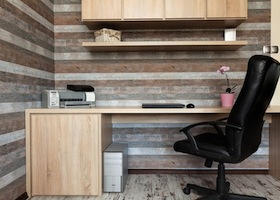Urban apartment - modern office with a wooden desk