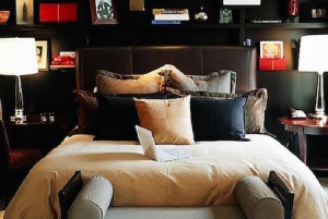 Plush bedroom setting with beige linen.