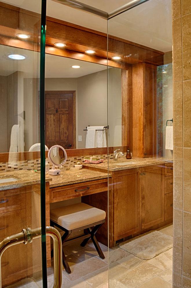 Wooden Cabinets in Bathroom glass shower doors