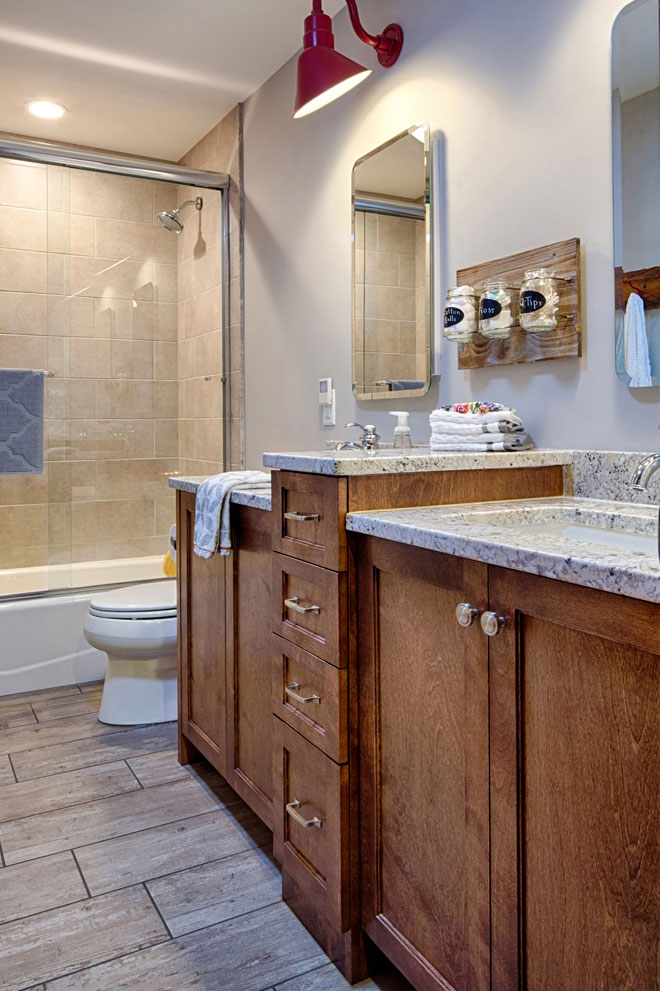 Double Sink bathroom with tub shower